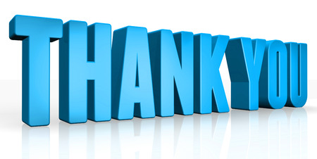 3D thank you text on white background