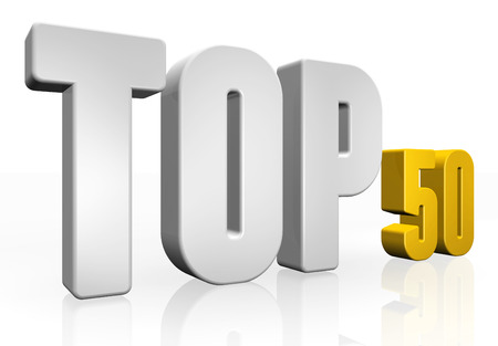 Top 50 - 3d illustration on white background Stock Photo