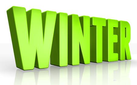 typesetter: 3D winter text on white background