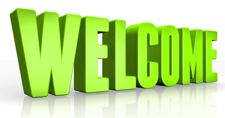 shopsign: 3D welcome text on white background Stock Photo