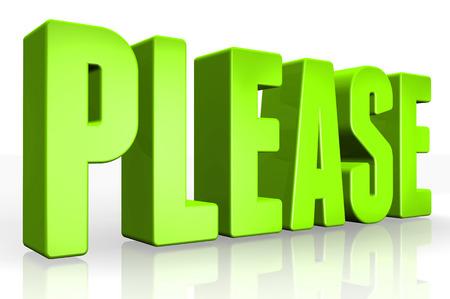 imploring: 3D please text on white background Stock Photo