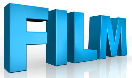 3d film: 3D film text on white background Stock Photo