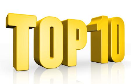 Top 10 - 3d illustration on white background