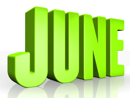 june: 3D june text on white background