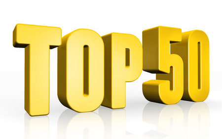 top 50 icon: Top 50 - 3d illustration on white background Stock Photo