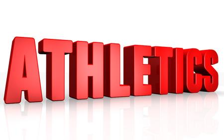 athletics: 3D athletics text on white background Stock Photo