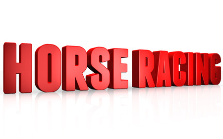 racing sign: 3D horse racing text on white background