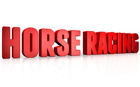 corse di cavalli: Testo 3D corse di cavalli su sfondo bianco