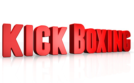 kick boxing: 3D kick boxing text on white background Stock Photo