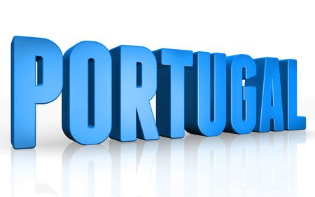 Texto en 3D Portugal en el fondo blanco