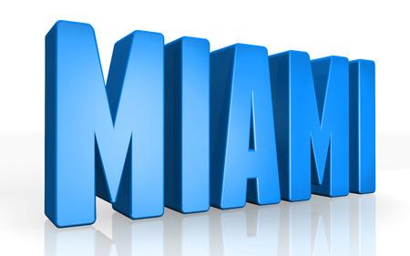 Texto en 3D Miami en el fondo blanco