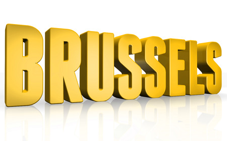 Texto 3D de Bruselas sobre fondo blanco