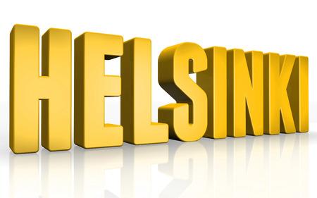 3D Helsinki text on white background