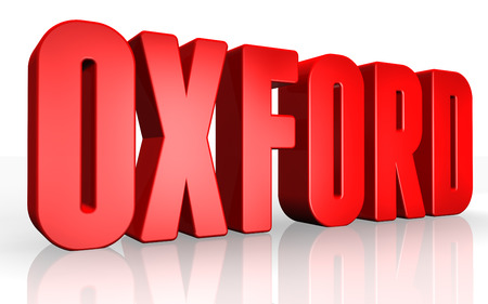 oxford: 3D Oxford text on white background