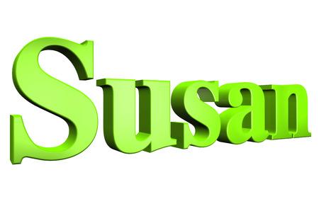 susan: 3D Susan text on white background