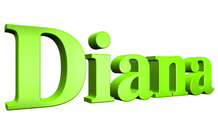 lady diana: 3D Diana text on white background Stock Photo