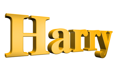 harry: 3D Harry text on white background Stock Photo