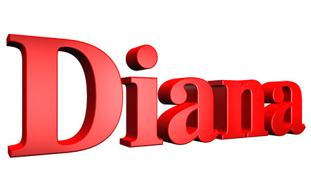 diana: 3D Diana text on white background Stock Photo