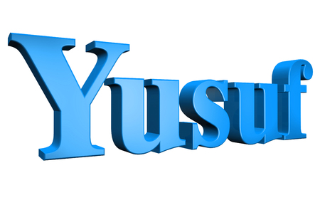 special individual: 3D Yusuf text on white background Stock Photo