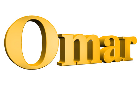 special individual: 3D Omar text on white background