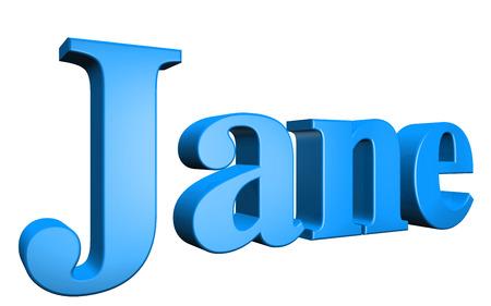 jane: 3D Jane text on white background
