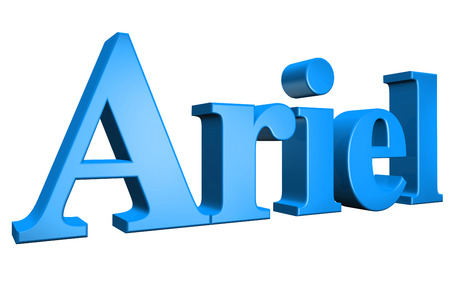 ariel: 3D Ariel text on white background Stock Photo