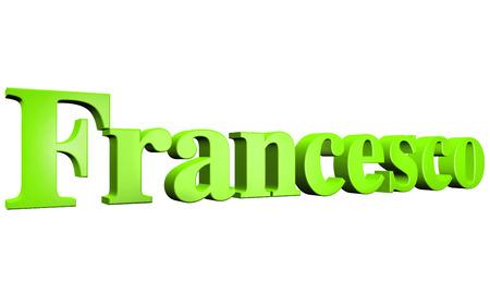 francesco: 3D Francesco text on white background Stock Photo