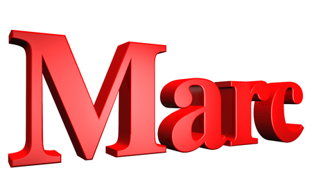 marc: 3D Marc text on white background