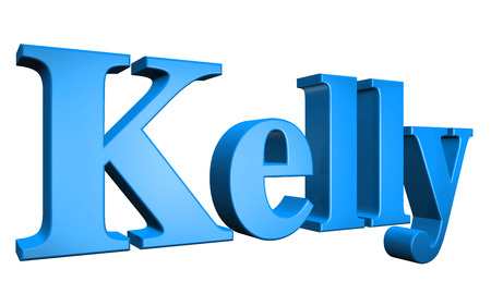 kelly: 3D Kelly text on white background