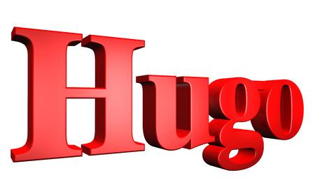 hugo: 3D Hugo text on white background