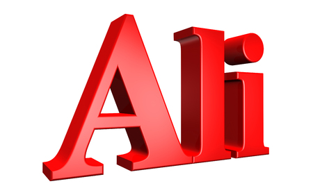 ali: 3D Ali text on white background Stock Photo