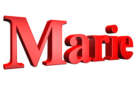 marie: 3D Marie text on white background