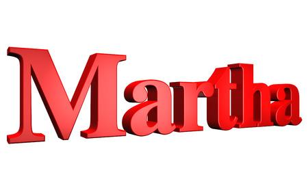 martha: 3D Martha text on white background Stock Photo