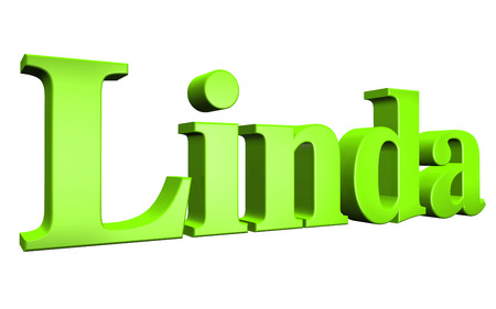 linda: 3D Linda text on white background