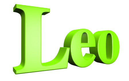 special individual: 3D Leo text on white background Stock Photo