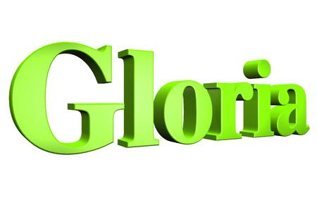 gloria: 3D Gloria text on white background