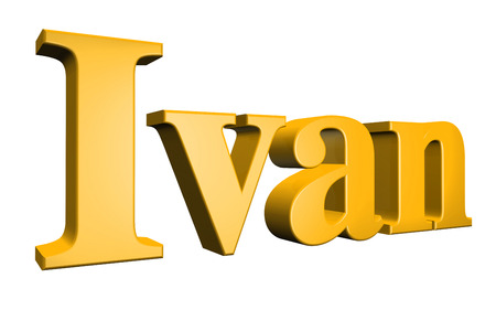 ivan: 3D Ivan text on white background