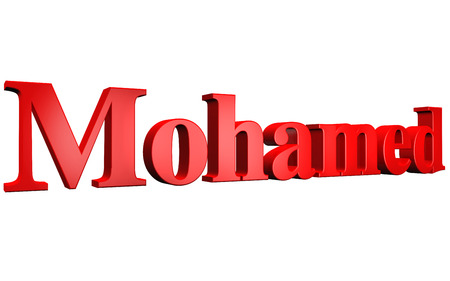 special individual: 3D Mohamed text on white background