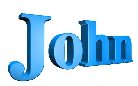 special individual: 3D John text on white background Stock Photo