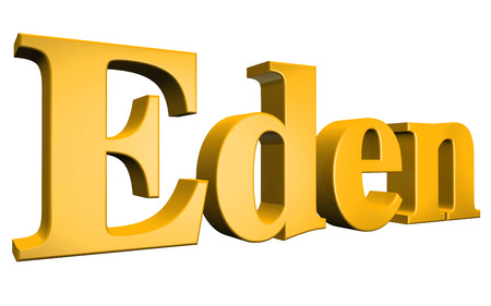 3D Eden text on white background