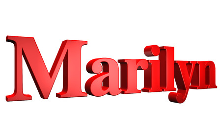 3D Marilyn text on white background Stock Photo