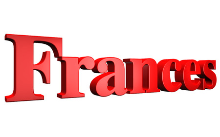3D Frances text on white background Stock Photo