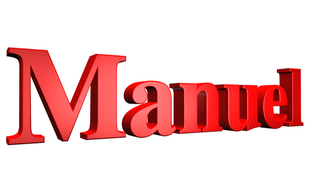 3D Manuel text on white background