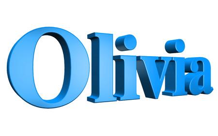 olivia: 3D Olivia text on white background Stock Photo