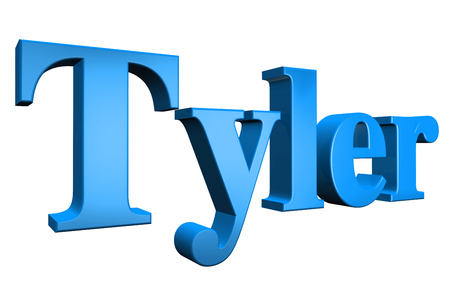 3D Tyler text on white background