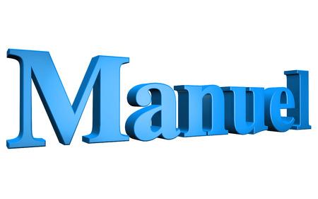 manuel: 3D Manuel text on white background