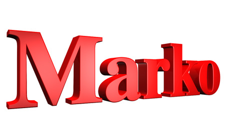 special individual: 3D Marko text on white background