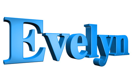 3D Evelyn text on white background Stock Photo