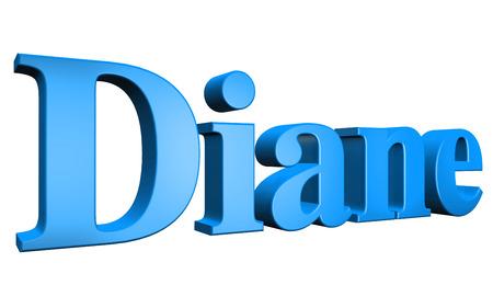 3D Diane text on white background Stock Photo