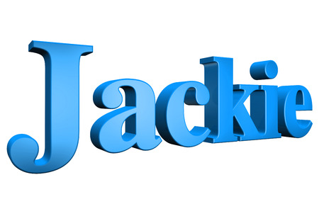 3D Jackie text on white background Stock Photo